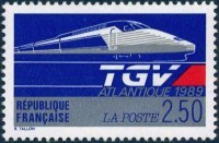 Timbre du train grande vitesse TGV atlantique.