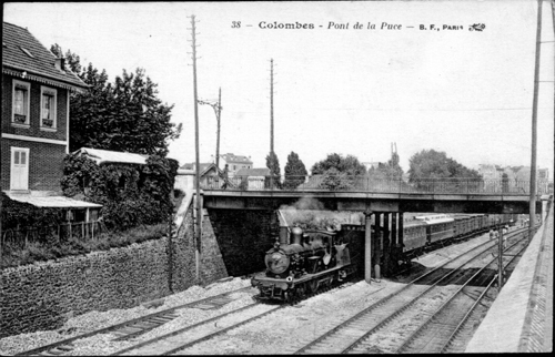 Cartes postale ancienne de Colombes - Train au pont de la puce.