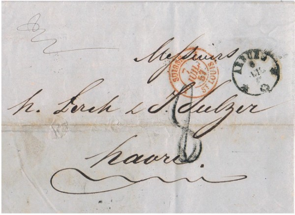 Lettre ambulant de 1857 Recto.