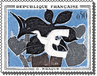 Timbre de France 1961 - Le messager - Georges Braque.