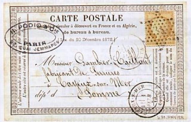 La première carte postale Française datée du 20 décembre 1873.