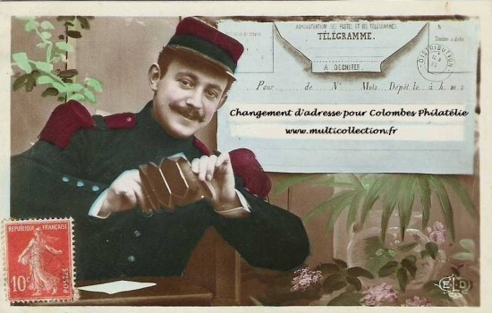 Carte télegramme : Colombes philatélie change de ndd www.multicollection.fr