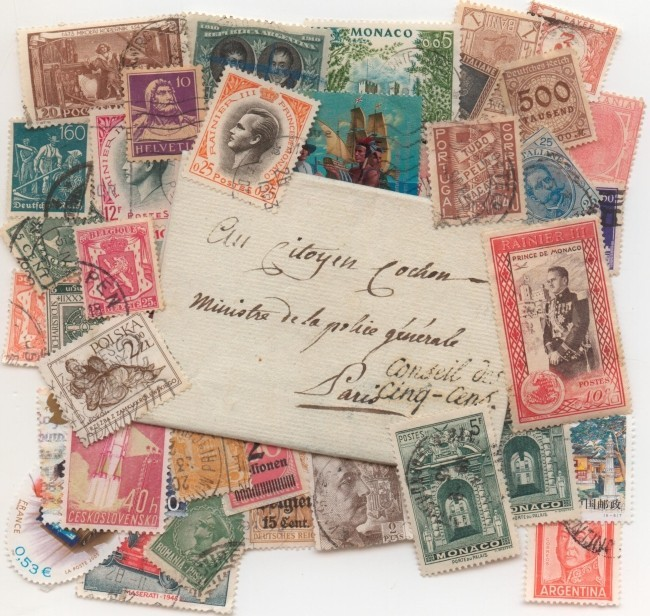 Collection de timbres poste.