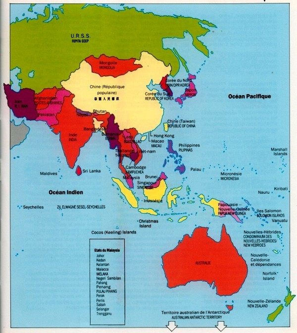 Carte Asie Oceanie.Guide D Identification Des Timbres