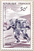 TIMBRE FRANCE RUGBY 1956
