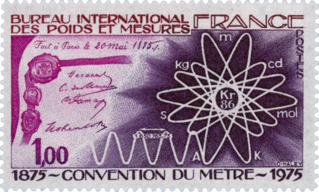 Timbre - Convention du mètre 1875-1975.