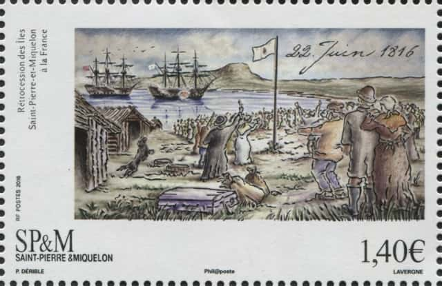 Timbre - 22 juin 1816 Retrocession de Saint-Pierre et Miquelon à la France.