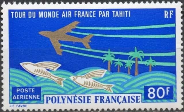 Timbre - Tour du monde par Tahiti - Air-France.