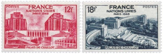 Timbres - Palais de Chaillot Nations unis Paris 1948.