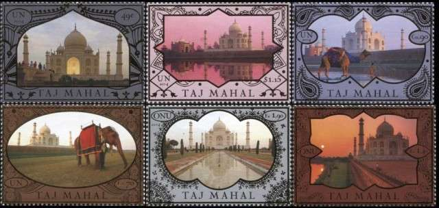 Timbres (Nations Unies de New-York ) - Le Taj Mahal est le monument Indien le plus connu au monde.