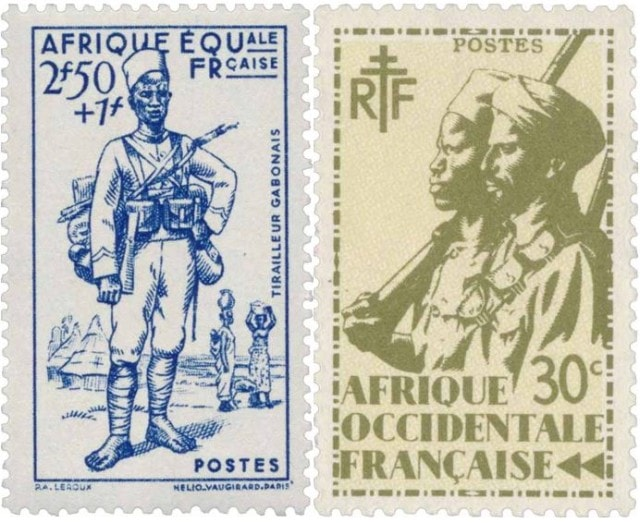 Timbres - Les troupes africaine des AOF et AEF.