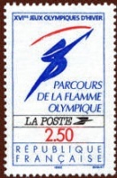 Timbre flamme olympique Albertville 1992.